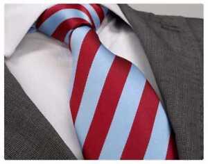 Herren Qualitäts-Krawatte handgefertigt rot hell_blau handmade tie PD-1705