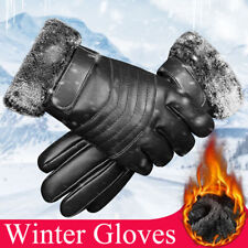 Men Women Leather Winter Warm Gloves Windproof Waterproof Thermal Touch Screen