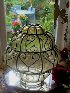 A CHARMING VINTAGE FRENCH  GLASS LIGHT SHADE ~ PERIOD LIGHTING PROJECTS