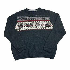 VTG BASIC EDITIONS NORDIC FAIR ISLE BLACK PULLOVER KNIT SWEATER SIZE XL EXTRA LA