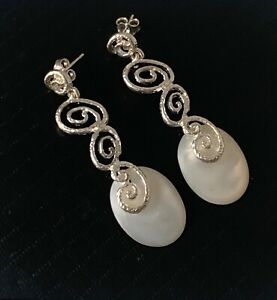 STATEMENT - Solid Sterling Silver & Mother of Pearl Drop Dangle Earrings