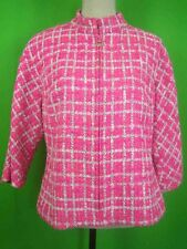 DONCASTER COLLECTION Bohemian Tweed Front Zip Jacket in Hot Pink, sz 12