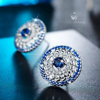 18k white gold GP made with SWAROVSKI crystal round umbrella stud earrings leaf
