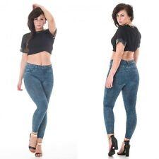 Thermal Skinny Jeggings Jeans High Waist Slim Fit Denim Look Fleece Lining BLUE