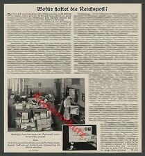 Reichspost Organisation DRP Briefwesen Paketlazarett Arbeiter Haftung Geld 1935