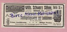 BERLIN Werbung 1908, Wilh. Schwarz Söhne Stahl-Kugel-Lager-Rollen Lauf-Schienen