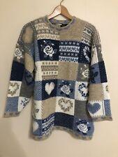Vintage Grandma Sweater hearts Rose tan blue white womens size medium