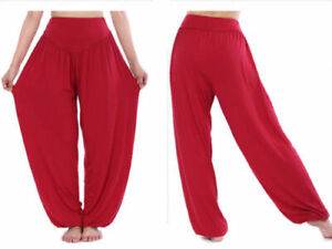 Auction Women Yoga Ali Pants Gypsy Genie Baba Harem Trousers Baggy Wine Red S
