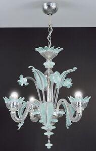 murano chandelier 3 light light blue and crystal