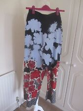 BN TOPSHOP NAVY & BLUE FLORAL SATIN PALAZZO TROUSERS SIZE 8 L29