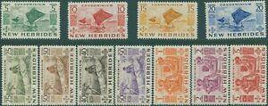 New Hebrides 1953 SG68-78 Outrigger Canoes Natives set MNH