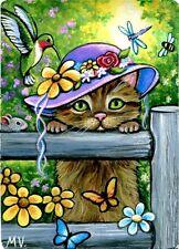 Kitten Hummingbird Dragonfly Bee Butterflies Easter Original ACEO Painting Print