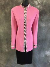 BEAUTIFUL St John collection knit jacket pink pearl suit blazer size 12