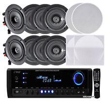 "NEW Pyle 4 PAIRS 5.25"" 150W In-Ceiling Speakers +Receiver, Selector, Volume Ctrl"