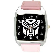 TRANSFORMERS AUTOBOT HERO PINK LEATHER FILM MOVIE STEEL COMICS SQUARE WATCH E1