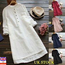 Plus Size UK Women Long Sleeve Tunic Shirt Mini Dress V Neck Loose Tops Blouse