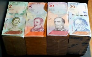 2018 Venezuela $2, $5, $10, $20 Bolivares UNC 4 Bricks 4000 Pcs New UNC SKU037