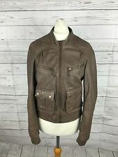 Women's Warehouse Leather Bomber Jacket -  UK10 - Brown - Great Condition