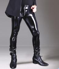 Mens Skinny Latex Leather PVC Pants Zipper Sexy Pencil Leggings Soft Slim Zha19