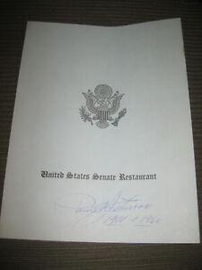Autographed, signed vintage US Senate restaurant Miss. Senator Paul Johnson 1960