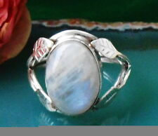 Ring Sterling Silber 925 Blätter halten Regenbogen Mondstein Stein des Juni