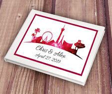 Personalised Red Las Vegas Inspired White Wedding Guest Book