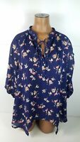 Womens Lauren Conrad Half Sleeve Floral Blouse Tie Key Hole Sheer Shirt Sz Small