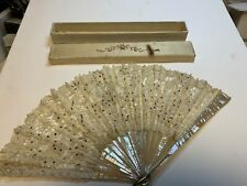 Antique MOP And White Lace 15 Inch Hand Fan With Metal Sequins And Original Box