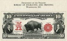 Ten Dollars BUFFALO BILL Certificate Souvenir Card Bureau Engraving Printing 80