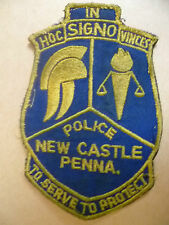 Patches: NEW CASTLE PENNA USA~ HOC SIGNO VINCES POLICE PATCH (apx.14.5x9.5cm