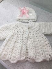 Baby Girl Wool White Cardigan With Matching Hat. Perfect Condition.