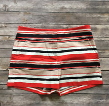 Ann Taylor 8 Shorts Signature Fit Striped Red Blue Flat Front Chino