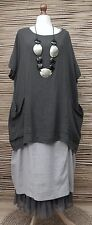 LAGENLOOK LINEN/COTTON OVERSIZED 2 POCKETS TUNIC/TOP**CHARCOAL**SIZE XXL-XXXL
