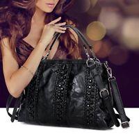 Women Rivet Leather Handbag Shoulder Bag Black Tote Purse Messenger Hobo Satchel