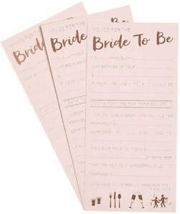 Ginger Ray Advice Card For The Bride To Be 10ct Rose Gold New In Package