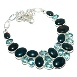 """Bloodstone - Africa & Blue Topaz 925 Sterling Silver Jewelry Necklace 17.99"""" F21"""