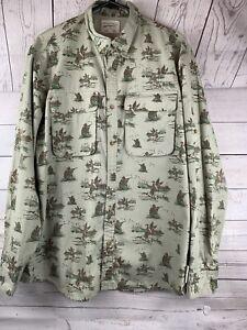 Field & Stream Rollup LS Vented Nylon Fishing/hunting Duck Large tan/gray shirt