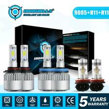 9005+H11+H11 Total 4500W IRONWALLS LED Headlights High Low Beam+Fog Light Bulbs