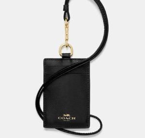 NWT COACH ID Badge Lanyard w/Card Slots Black Leather