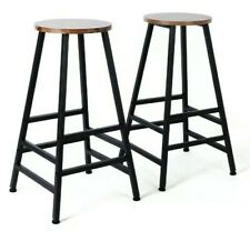 @ Set Of 2 Backless Industrial Style Barstools Chair Vintage High Wooden  64:21