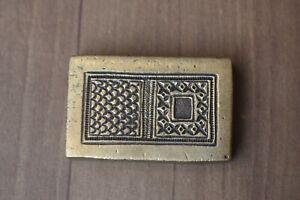 Vntg Collectible indian Bronze Jewelry Die Mold flower Hand Engraved Die