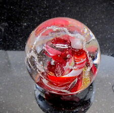 RED cremation PET MEMORIAL GLASS urn ash paperweight SWILRLING NEBULA