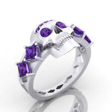Dark Skull Design Purple Diamond Ghost Rider Theme Fan Biker's Ring Gothic Style