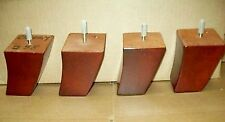 Furniture Legs Feet Wood Tapered Curved Couch Chair Ottoman Cherry (4) Jit3