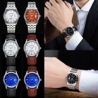 Fashion Mens Quartz Analog Date Slim Stainless Steel Wrist Watch Waterproof