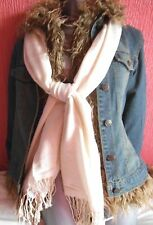 women girls retro 60's look distressed denim jacket removable fur lining S/M/L