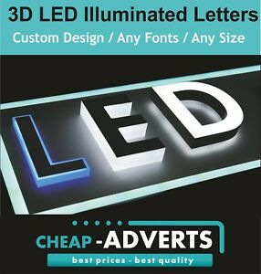 3D LED Shop Sign Letters 20cm-3D LED Illuminated Exterior Signage- Free Artwork.