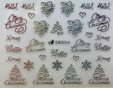 Nail Art 3D Decal Stickers Multicolored Merry Christmas Love Snowflakes SW004