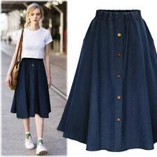 4855fc9bf87 Women Button Denim Jeans Swing Skirt Ladies Elastic High Waist Casual Midi  Skirt