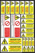 23 PV Solar Safety Electrical Warning Labels ac/dc danger high Voltage stickers